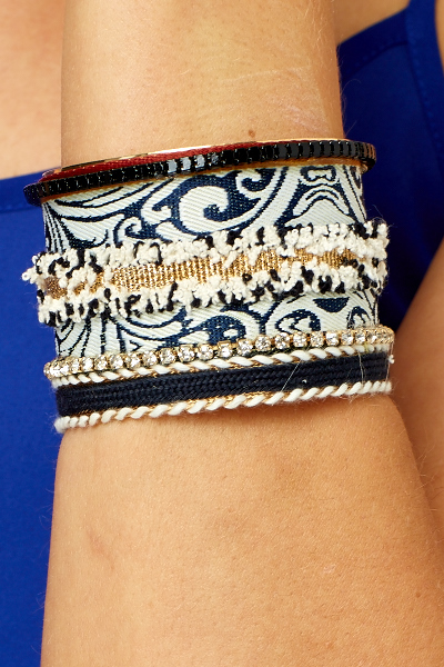 Embroidered Contrast Cuff Bracelet