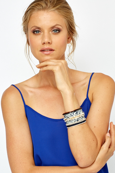 Image of Embroidered Contrast Cuff Bracelet