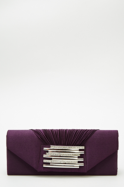 Encrusted Panel Sateen Clutch