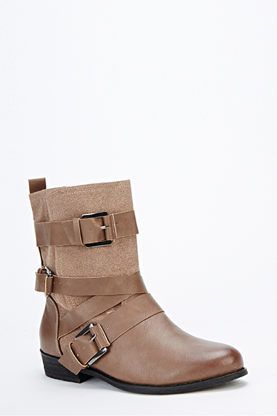 Faux Leather Insert Ankle Boots