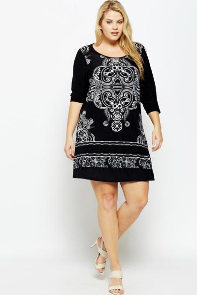 ornate print tunic dress - just £5