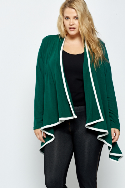 Dark Green Contrast Trim Open Cardigan