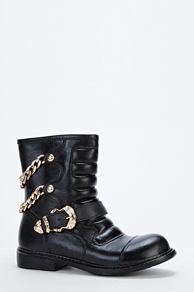 Chain Embellished Biker Boots