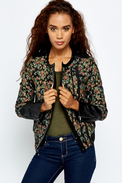 Embroidered Floral Bomber Jacket - Just £5