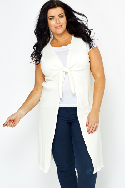 Knot Front Off White Sleeveless Cardigan - Just £5