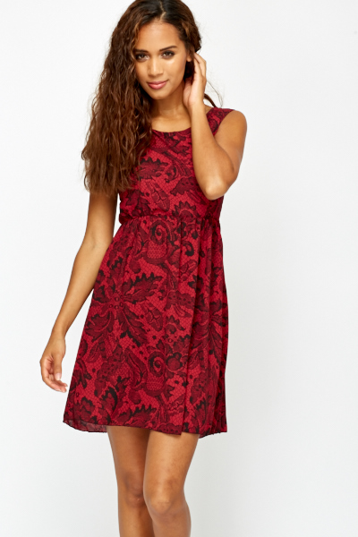 Maroon Lace Print Skater Dress - Just £5 58fe58b23435