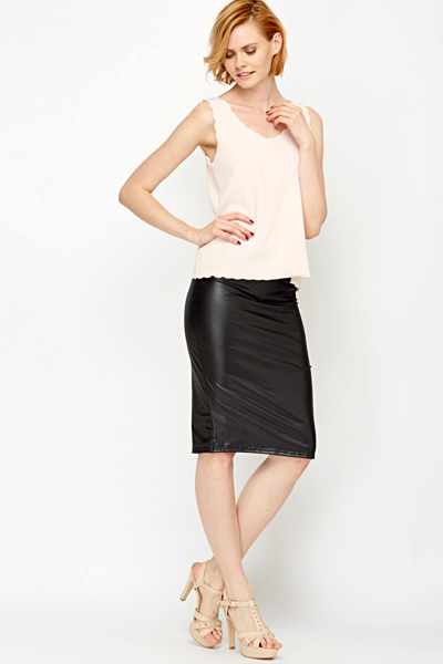 Leather Look Bodycon Skirt - Just £5