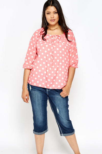 Fabulous Pink Polka Dot Blouse - Just £5 &DL24