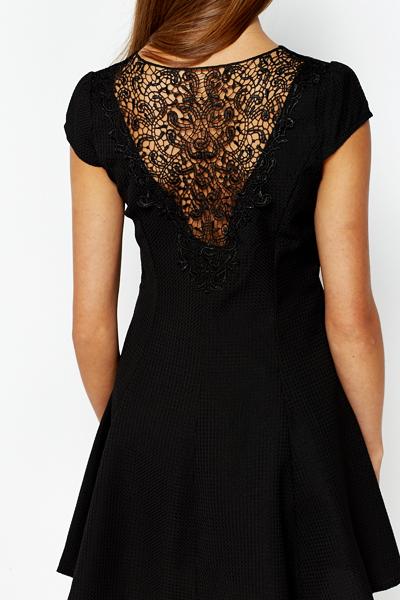 Lace Back Black Swing Dress