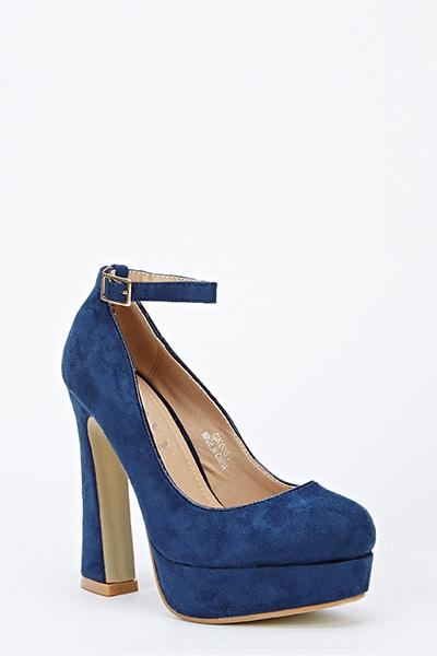 bd5412f77a7 Suedette Ankle Strap Platform Heels - Just £5