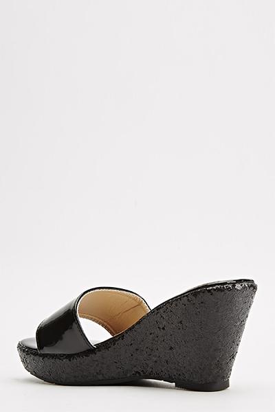 Black Glitter Slip On Wedges - Just $6