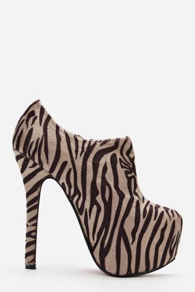 15ed6b545 Zebra Print Ankle Heeled Boots - Just £5