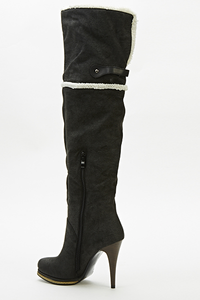 8450382b0cc Faux Fur Trim Over The Knee Boots - Just £5