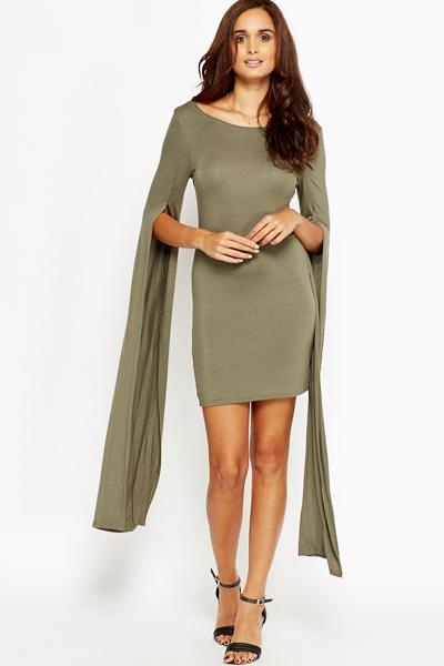 686976855505 Split Long Sleeve Bodycon Dress - Just £5
