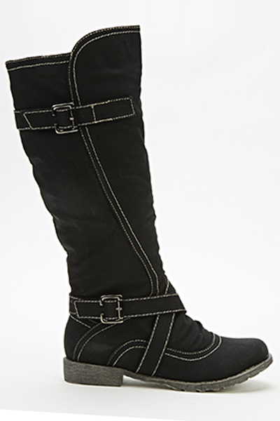 Contrast Trim Knee High Boots