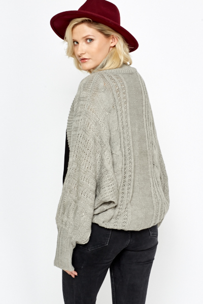 Knit Detail Batwing Sleeve Cardigan