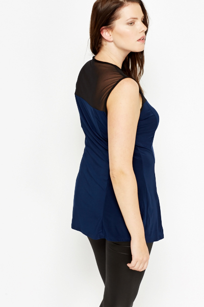 Dark Blue Mesh Insert Top