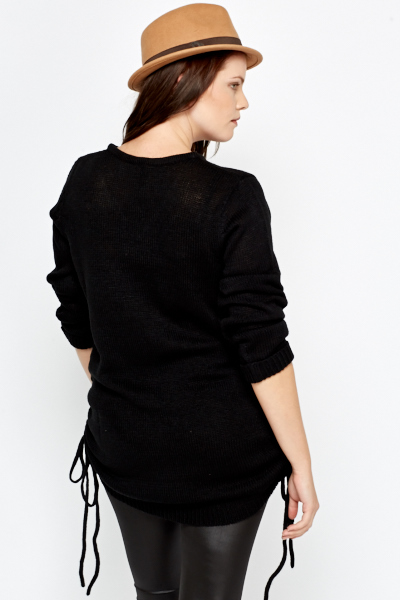 Drawstring Side Knitted Jumper