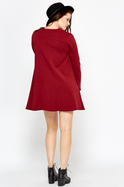 Funnel Neck Burgundy Swing Dress