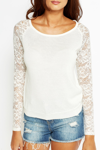 Lace Sleeve Contrast Sweater