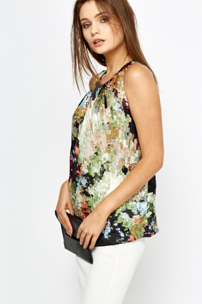 Mix Geo Print Shell Top