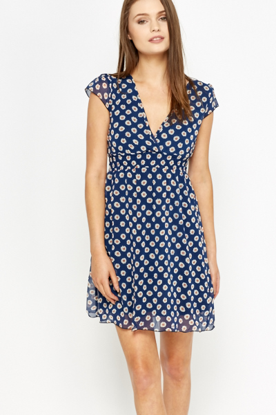 Plunge Neck Daisy Print Dress