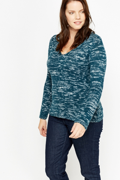Speckled V-Neck Jumper