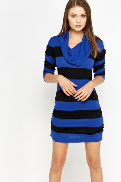 Striped Cowl Neck Jumper Dress