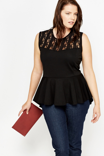 popular stores top-rated latest great discount sale Black Lace Panel Peplum Top