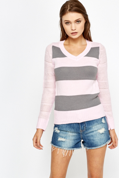 Contrast Sleeve Striped Jumper
