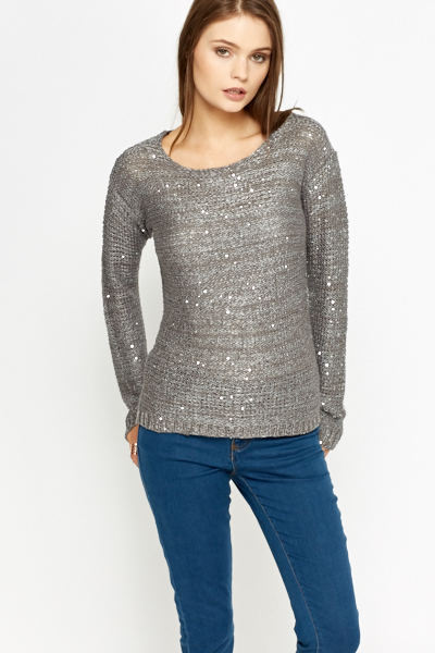 Loose Knit Sequin Embellished Jumper
