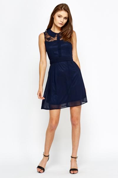 navy lace yoke skater dress just 1635