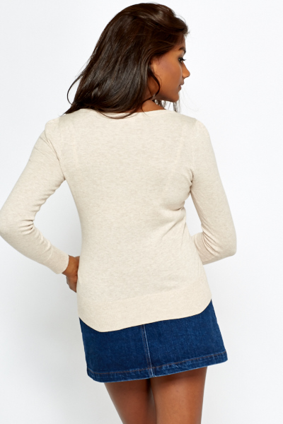 V-Neck Rib Trim Sweater