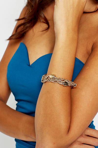 Image of Gold Tone Twisted Bracelet