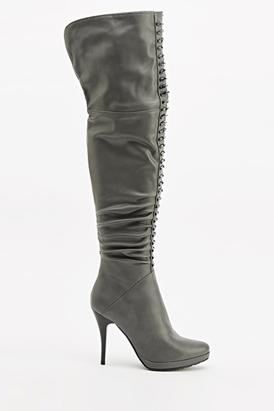 Grey Embellished Faux Leather Boots