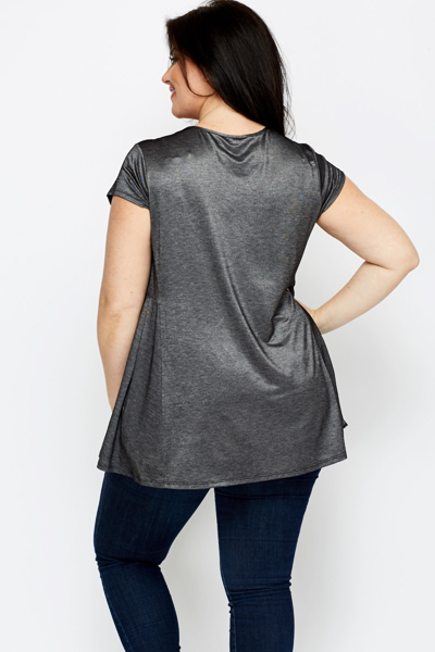 Pleated Side Charcoal Top