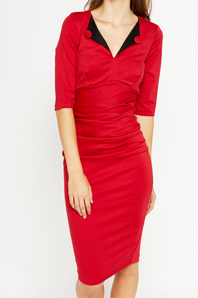 Rushed Side Pencil Dress