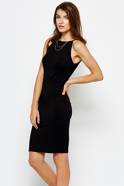 High Neck Bodycon Black Dress