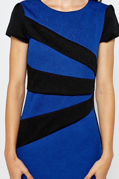 Royal Blue Striped Panel Dress