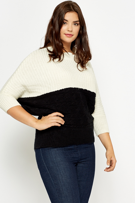 Two Tone Knitted Batwing Jumper