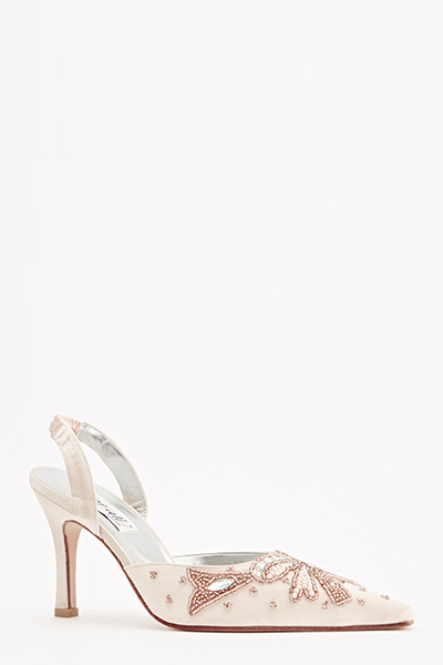 Beaded Sateen Low Court Heels