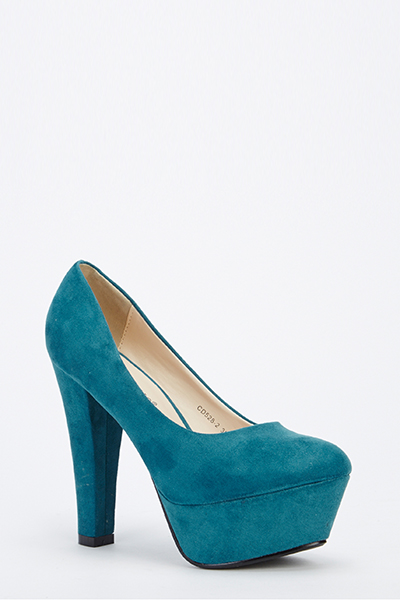 Chunky Heel Light Blue Suedette Shoes - Just £5