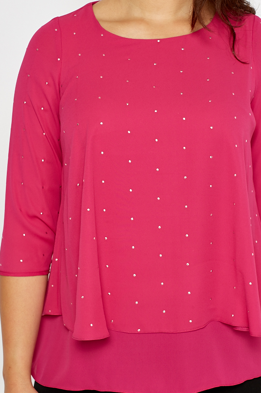 Fuchsia Layered Studded Blouse