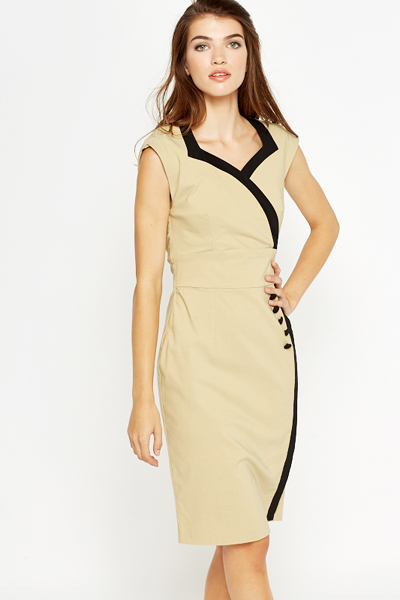 Khaki High Waist Contrast Pencil Dress
