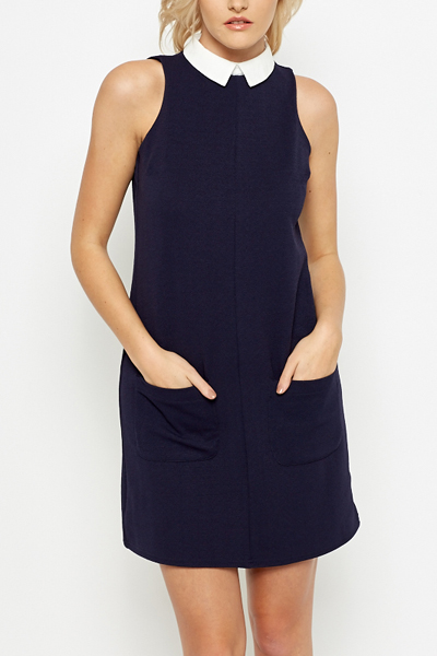 Navy Collared Shift Dress