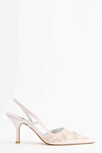 Pointed Embellished Court Heels