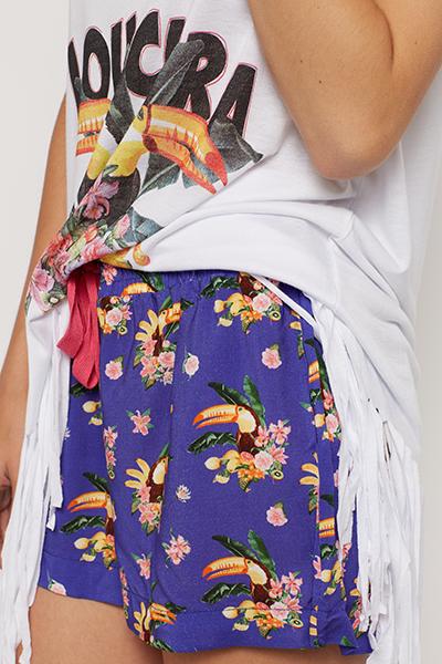 Toucan Bird Printed Top And Shorts Pyjama Set