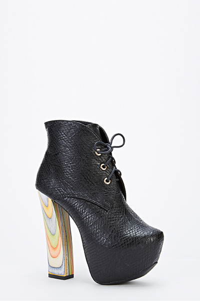 Block Contrast Heel Faux Leather Boots