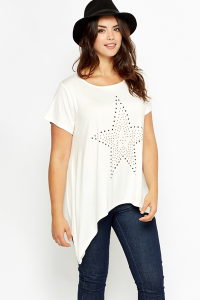 Cream Star Embellished Top