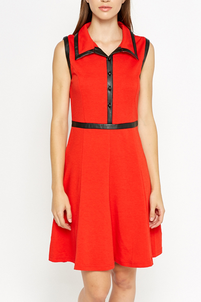 Faux Leather Trim Red Skater Dress